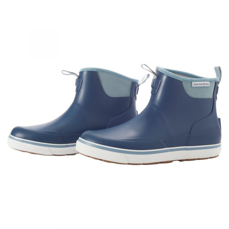 Grundens designed a Women's Deck-Boss Ankle Boot featuring a thick insole for all-day comfort on boats.
