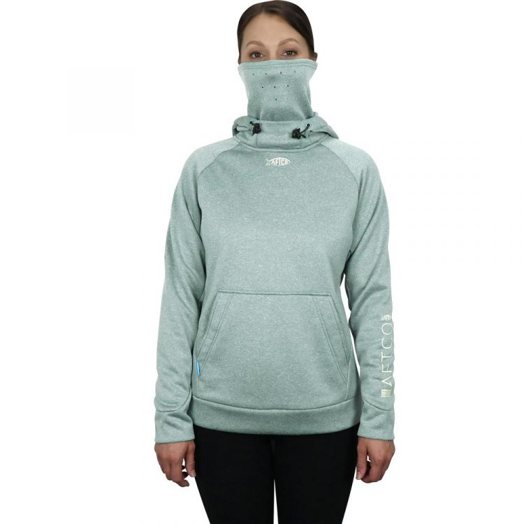 The AFTCO Women's Reaper Sweatshirt is unique because it's made with a face mask and neck warmer for the coldest days of fishing.