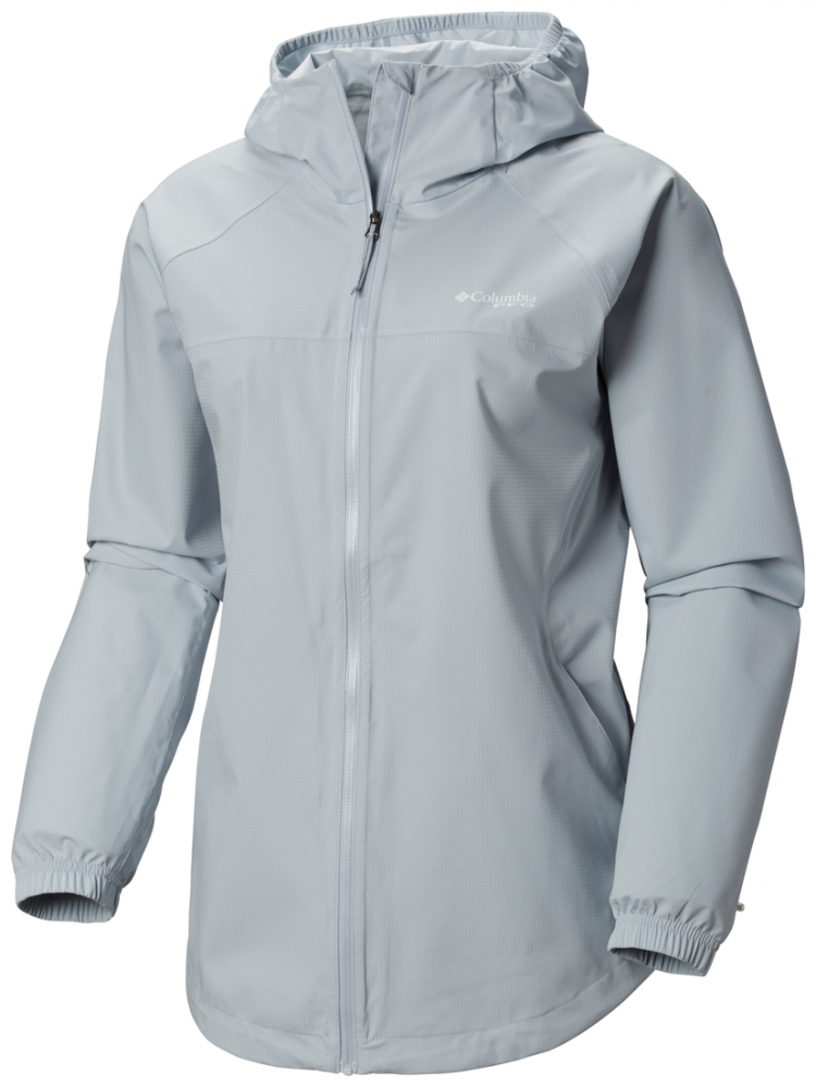 The Columbia Women's PFG Tamiami Hurricane Jacket is waterproof, breathable, and provides UPF 50 sun protection for cool weather or rainy days.
