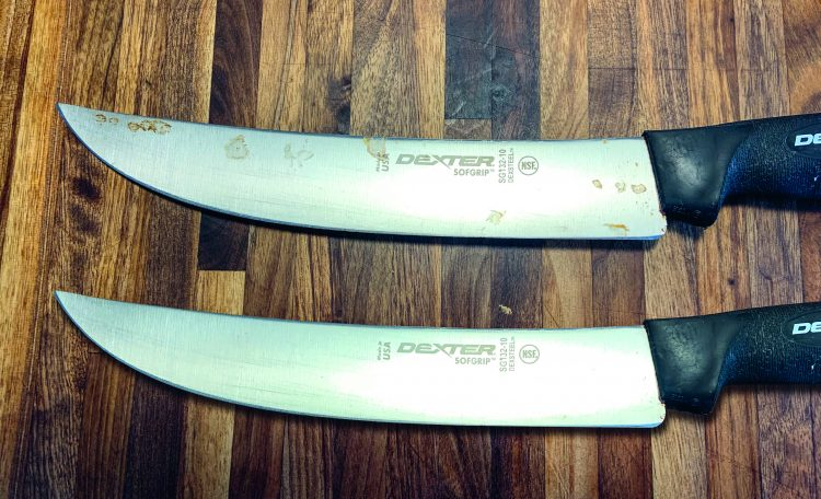 Comparing two knives - the top has rust and the bottom was treated with Bar Keepers Friend.