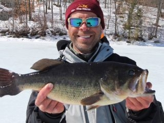 ice fishing largemouth bass
