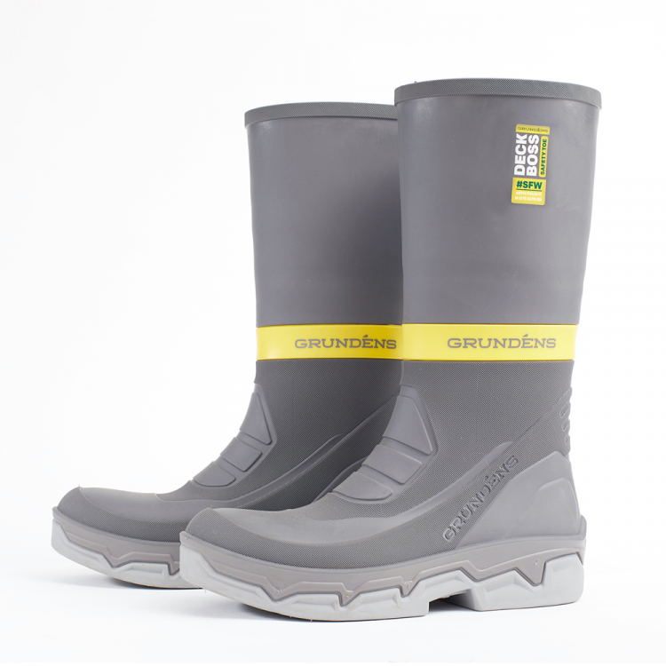 The Grundens Deck-Boss Safety Toe Boot provides protection and comfort for long days on a boat.