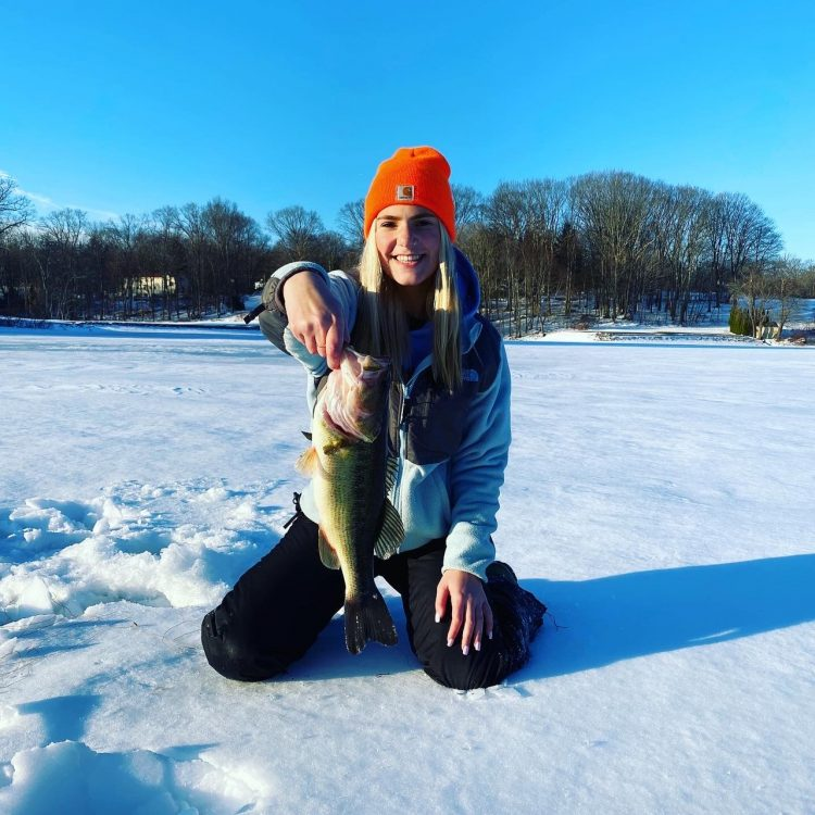 Sabryna Custodio pulled a nice largemouth bass through the ice in Danbury on Feb. 6.