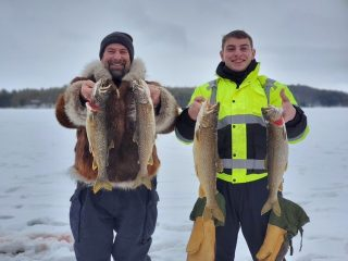 Whether you call them lakers or togue, these fish are on the feed. Photo Courtesy of Tim Moore Outdoors.