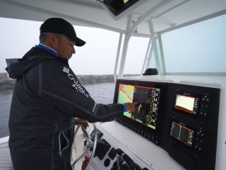 Chris Megan working his Simrad electronics