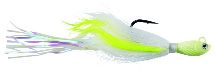 The Spro Power Bucktail is a saltwater-tough jig, tied with a combination of bucktail hair, vinyl strands, and long hackle feathers to bolster its profile and create an enticing, highly reactive swimming action and a fleeing, panicked baitfish look.
