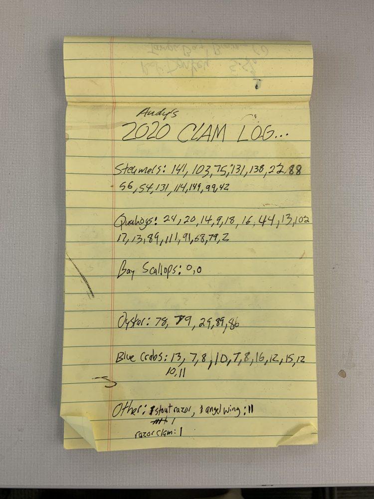 Clam Log Sheet