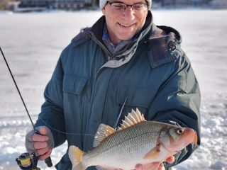 white perch on NH ice