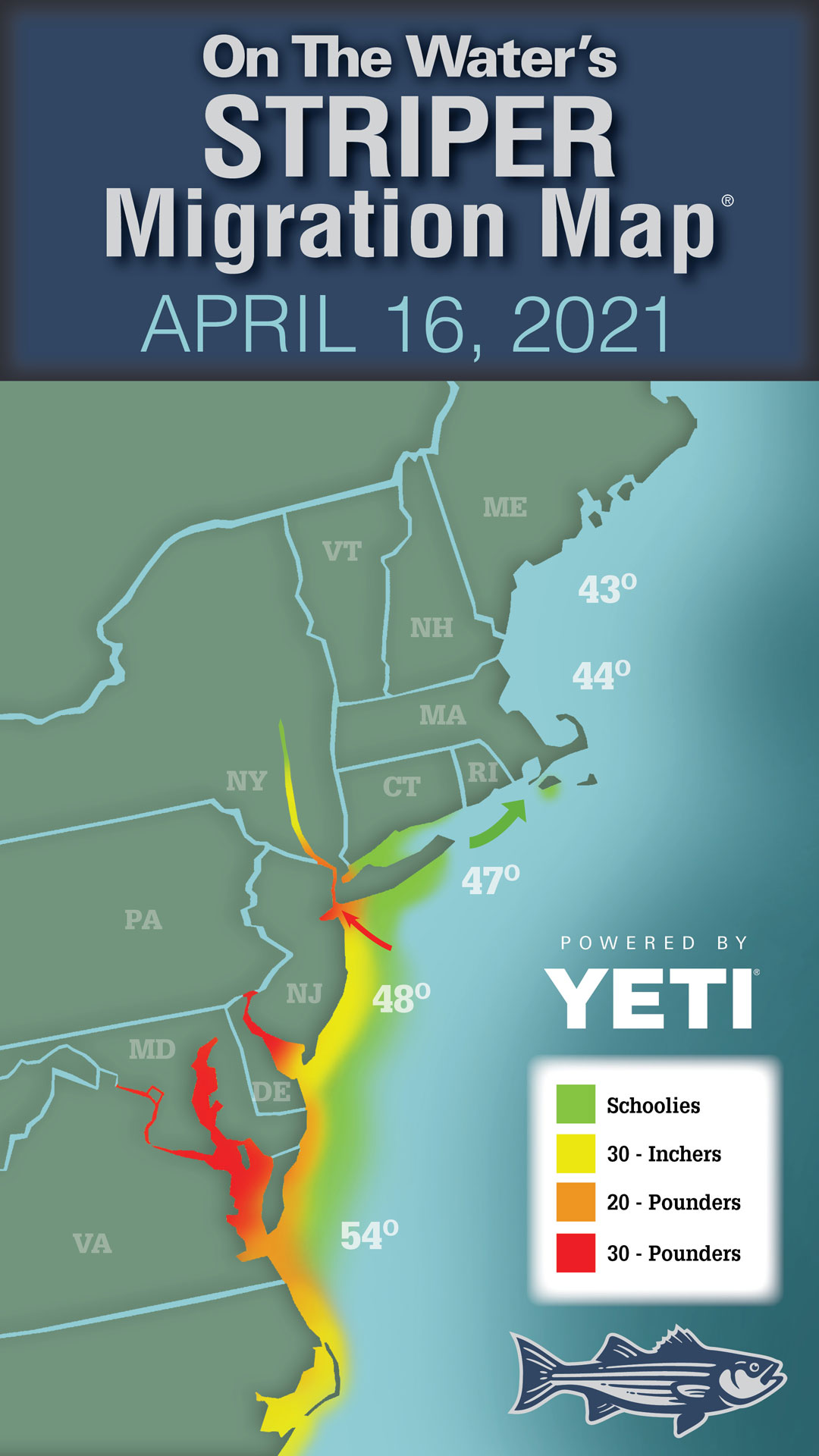 Striper Migration Map – April 16, 2021