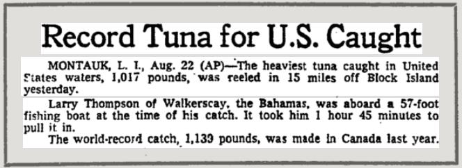 New York bluefin tuna record