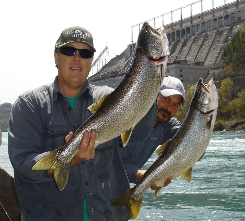 Mike Rzucidlo on left and Mike Ziehm lake trout double