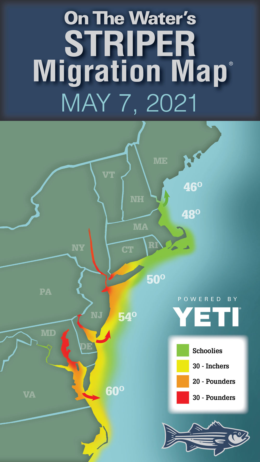 2021 Striper Migration Map May 7, 2021