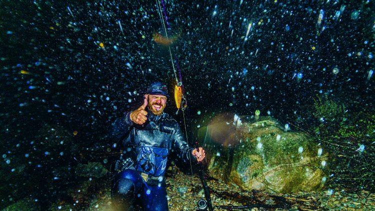 Fishing in a rainstorm