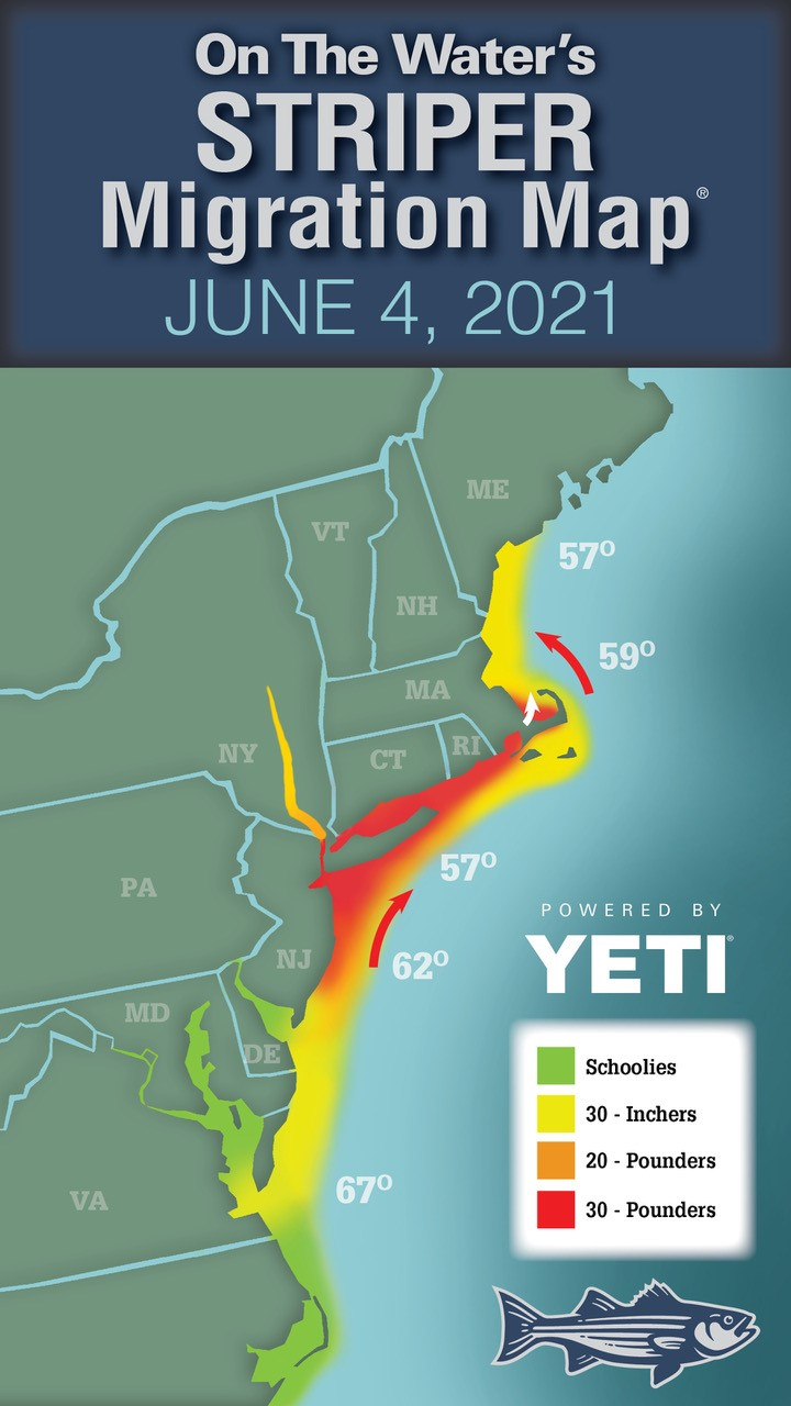 Striper Migration Map – June 4, 2021